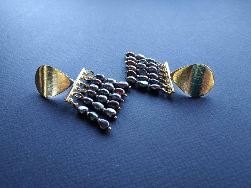 Серьги из коллекции «Tau Kita» Арт. E31719TK Голубой Жемчуг пресноводный (серо Богомолова Светлана - фото 4
