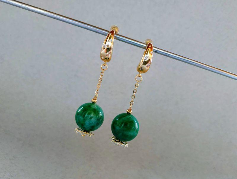 Серьги из коллекции «Arbre d`amour» Арт. E272788ADA Зеленый Нефрит зеленый, кристаллы Богомолова Светлана - фото 2