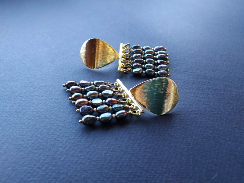 Серьги из коллекции «Tau Kita» Арт. E31719TK Голубой Жемчуг пресноводный (серо Богомолова Светлана - фото 2