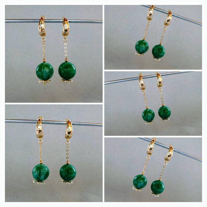 Серьги из коллекции «Arbre d`amour» Арт. E272788ADA Зеленый Нефрит зеленый, кристаллы Богомолова Светлана - фото 7