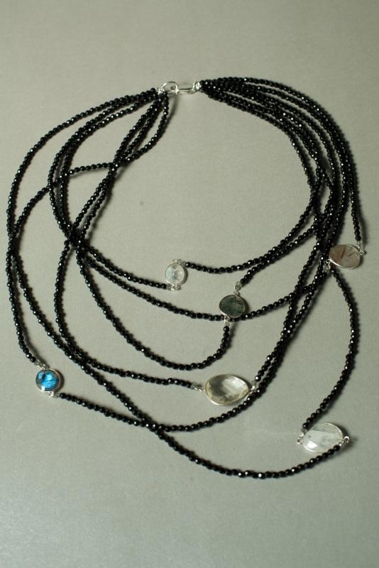 Ожерелье в стиле «Checker» из коллекции «Sky Cairo»  Арт. N002SC Черно-белый Черный Оникс, Агат, Амети Богомолова Светлана - фото 1