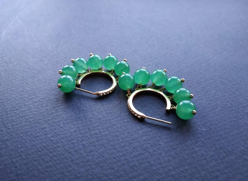 Сережки з колекції «Éblouissant» Арт. E23719Ébl Зелений Зелений агат, кристали Sw Богомолова Світлана - фото 4