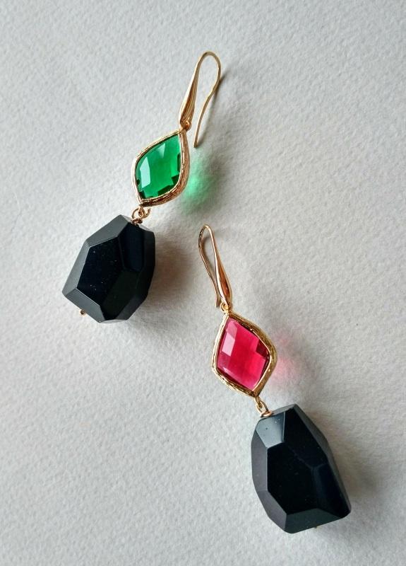 Серьги из коллекции «Orchidee Noir» Арт. E218ON Разноцветный Черный оникс, витражи, ла Богомолова Светлана - фото 7