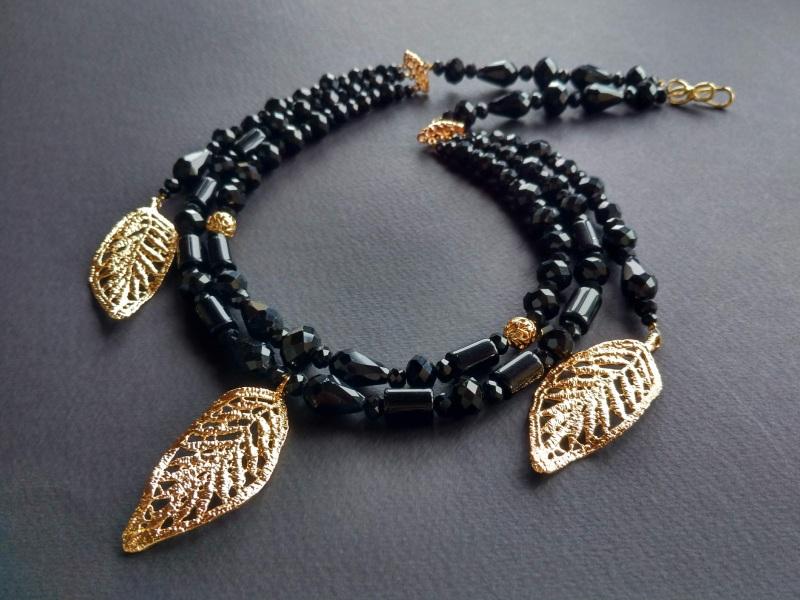 Ожерелье из коллекции «Gold of Augustus»  Арт. N1507GOFA Черный Черный оникс, латунь, поз Богомолова Светлана - фото 4