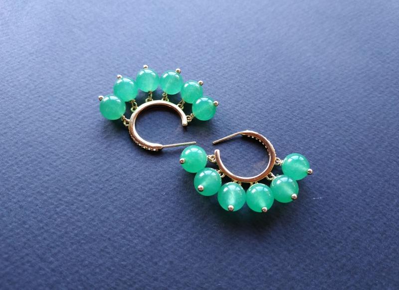 Сережки з колекції «Éblouissant» Арт. E23719Ébl Зелений Зелений агат, кристали Sw Богомолова Світлана - фото 12