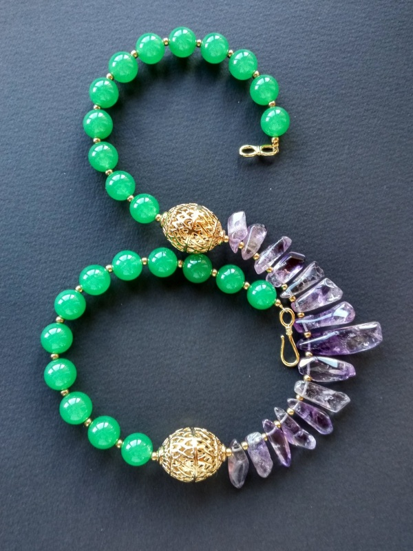 Ожерелье из коллекции «Hortense in the arms Artichoke»  Арт. N027HAA  Зеленый агат, аметист, ла Богомолова Светлана - фото 7