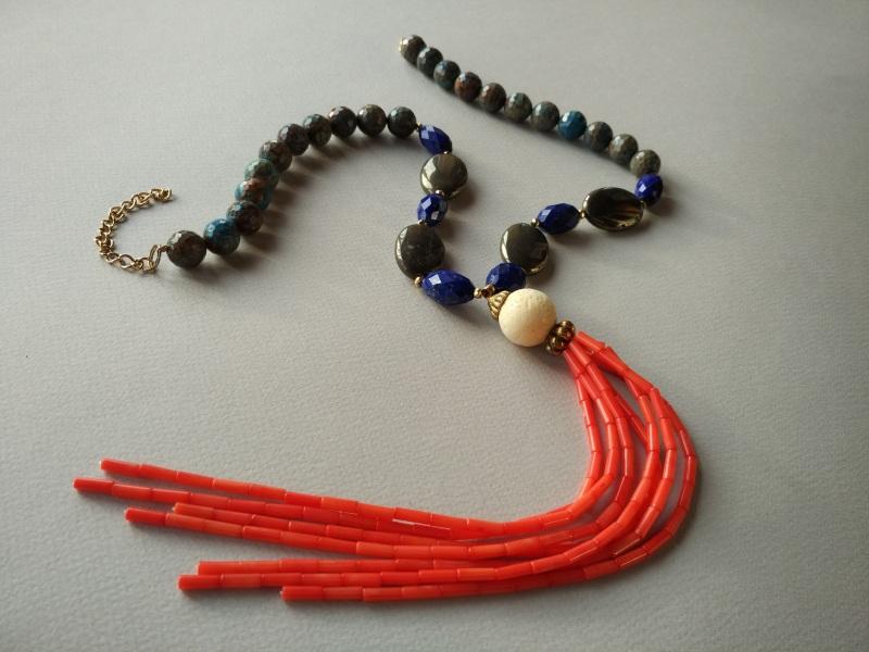 Ожерелье из коллекции «Caribbean fish» Арт. N011CF Разноцветный хризоколла, лазурит, кора Богомолова Светлана - фото 1