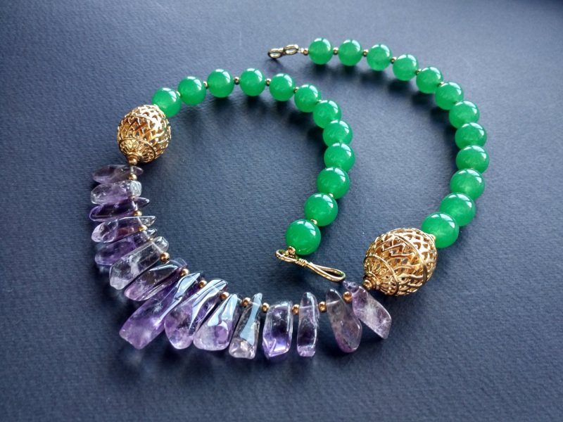 Ожерелье из коллекции «Hortense in the arms Artichoke»  Арт. N027HAA  Зеленый агат, аметист, ла Богомолова Светлана - фото 9