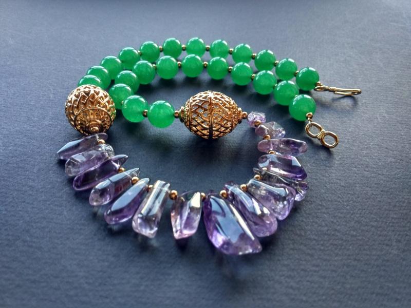 Ожерелье из коллекции «Hortense in the arms Artichoke»  Арт. N027HAA  Зеленый агат, аметист, ла Богомолова Светлана - фото 8