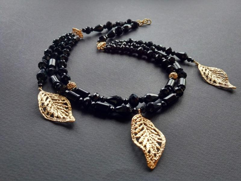 Ожерелье из коллекции «Gold of Augustus»  Арт. N1507GOFA Черный Черный оникс, латунь, поз Богомолова Светлана - фото 1