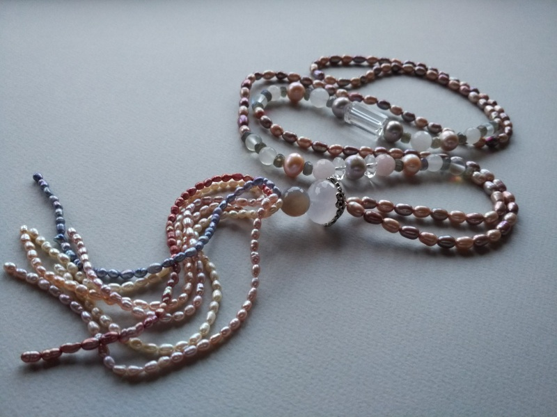 Ожерелье в стиле «Rope» Коллекция «Pearl fish»  Арт.N003PF-4 Разноцветный жемчуг речной, розовый кв Богомолова Светлана - фото 1