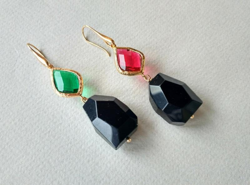 Серьги из коллекции «Orchidee Noir» Арт. E218ON Разноцветный Черный оникс, витражи, ла Богомолова Светлана - фото 8