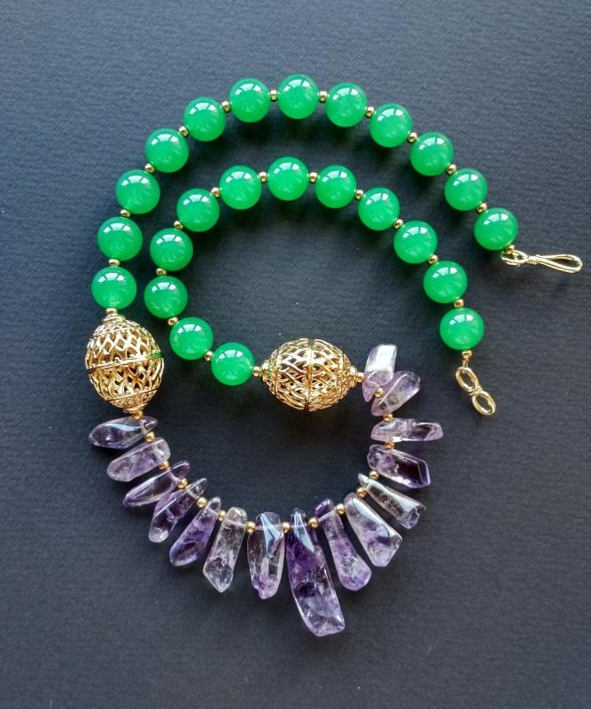 Ожерелье из коллекции «Hortense in the arms Artichoke»  Арт. N027HAA  Зеленый агат, аметист, ла Богомолова Светлана - фото 11