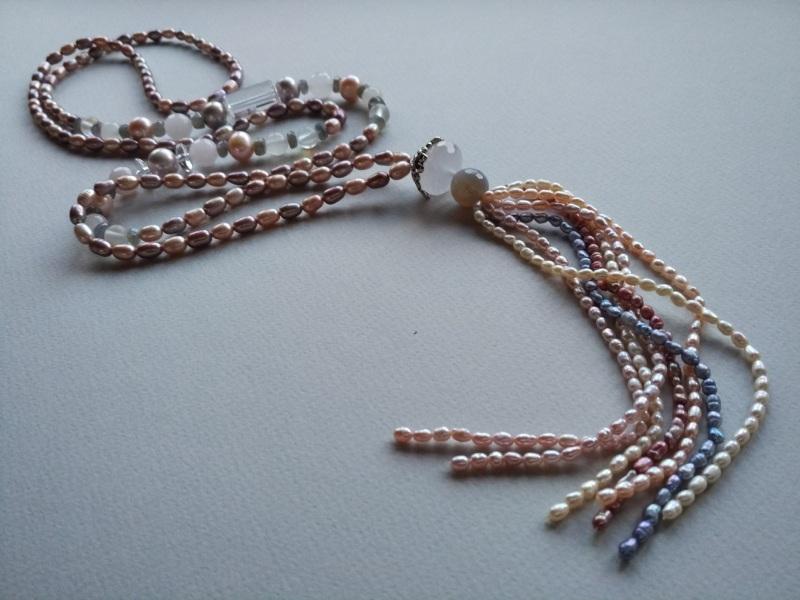 Ожерелье в стиле «Rope» Коллекция «Pearl fish»  Арт.N003PF-4 Разноцветный жемчуг речной, розовый кв Богомолова Светлана - фото 2