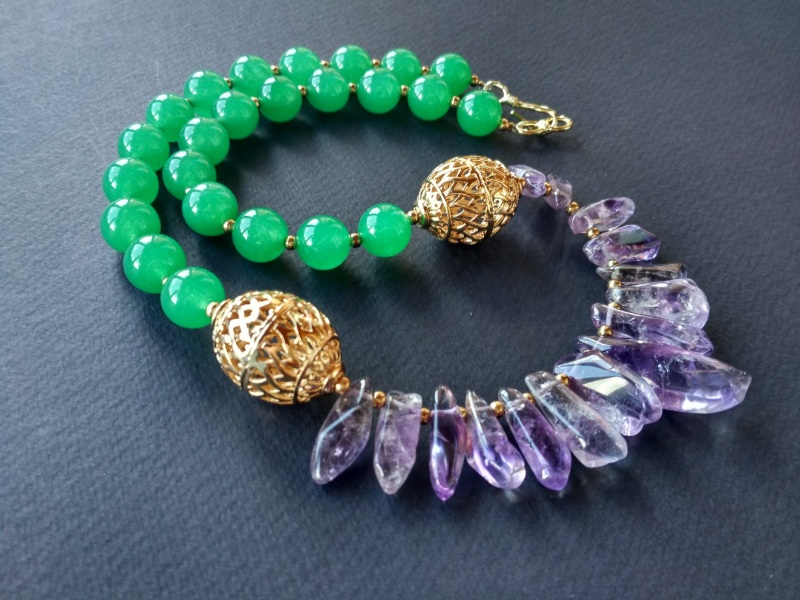 Ожерелье из коллекции «Hortense in the arms Artichoke»  Арт. N027HAA  Зеленый агат, аметист, ла Богомолова Светлана - фото 4