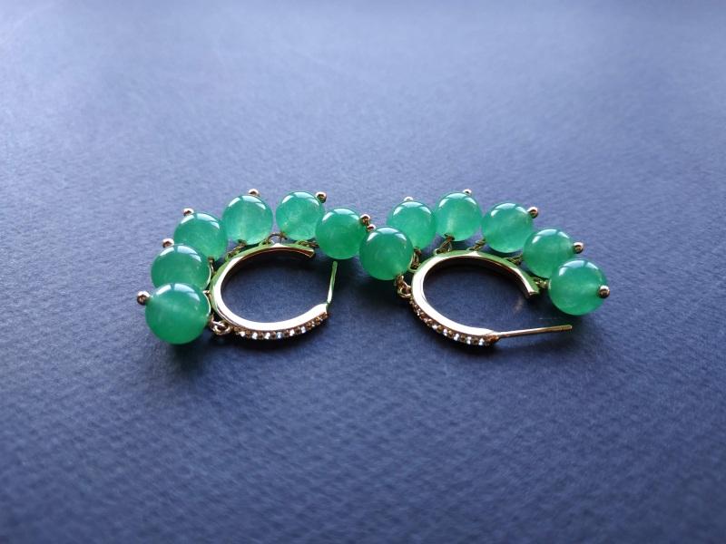 Сережки з колекції «Éblouissant» Арт. E23719Ébl Зелений Зелений агат, кристали Sw Богомолова Світлана - фото 5