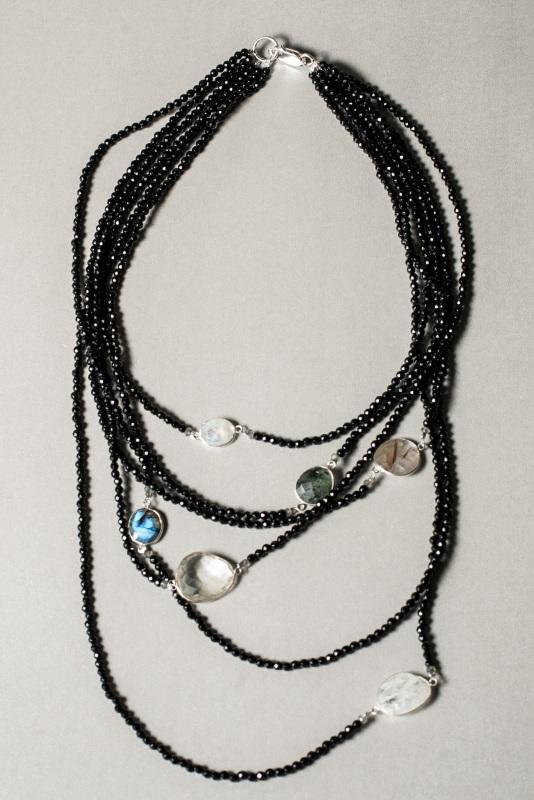 Ожерелье в стиле «Checker» из коллекции «Sky Cairo»  Арт. N002SC Черно-белый Черный Оникс, Агат, Амети Богомолова Светлана - фото 4