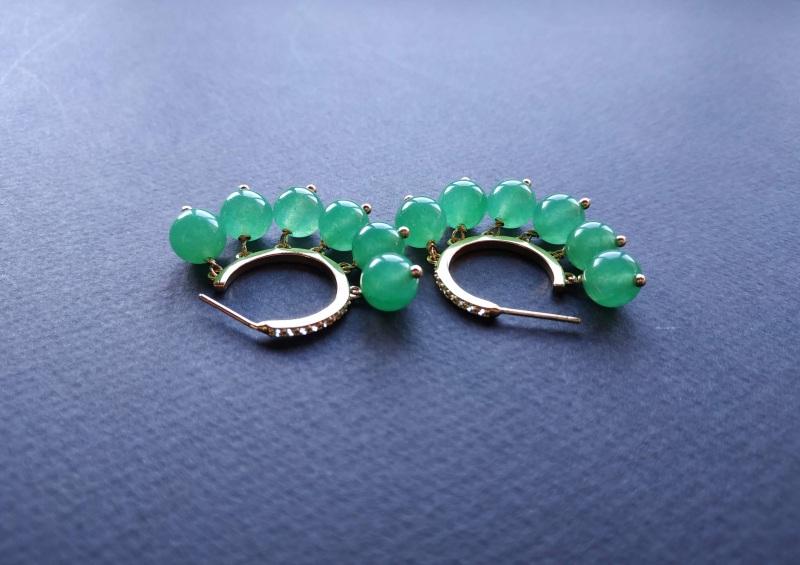 Сережки з колекції «Éblouissant» Арт. E23719Ébl Зелений Зелений агат, кристали Sw Богомолова Світлана - фото 6