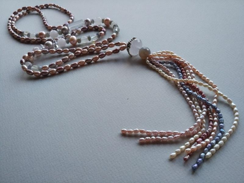 Ожерелье в стиле «Rope» Коллекция «Pearl fish»  Арт.N003PF-4 Разноцветный жемчуг речной, розовый кв Богомолова Светлана - фото 4
