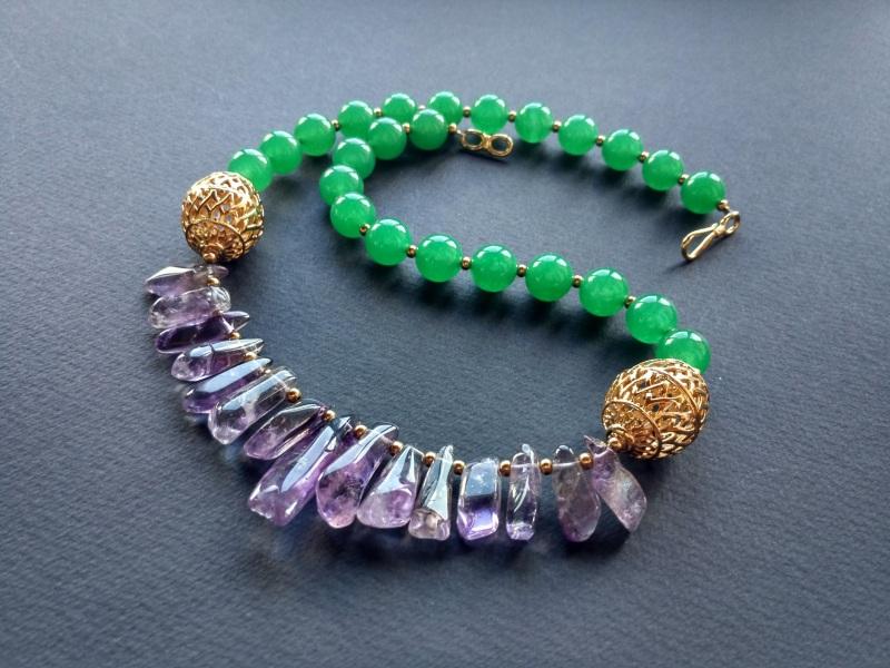 Ожерелье из коллекции «Hortense in the arms Artichoke»  Арт. N027HAA  Зеленый агат, аметист, ла Богомолова Светлана - фото 6