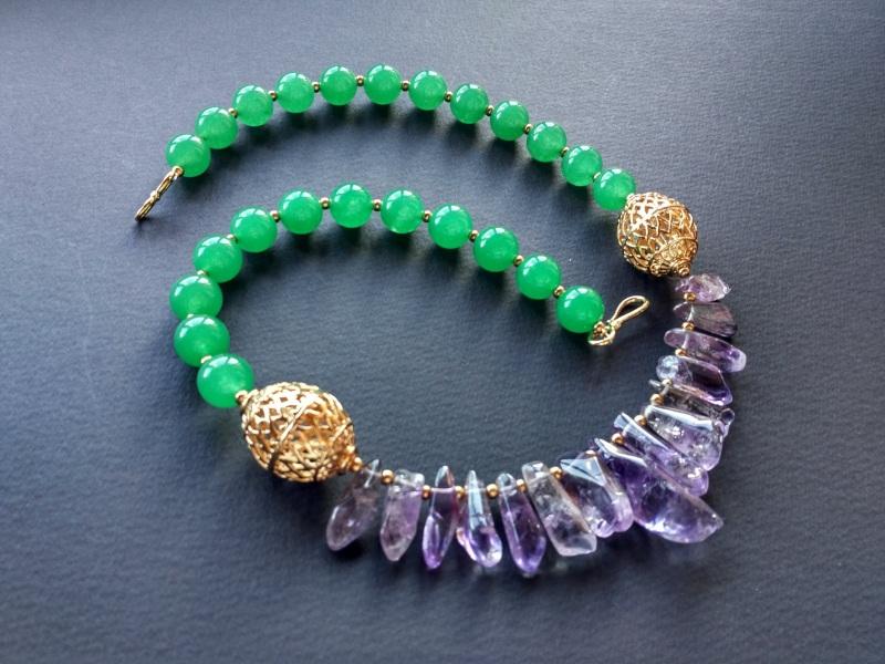 Ожерелье из коллекции «Hortense in the arms Artichoke»  Арт. N027HAA  Зеленый агат, аметист, ла Богомолова Светлана - фото 10