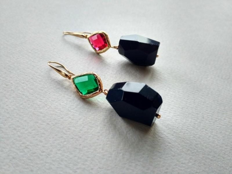 Серьги из коллекции «Orchidee Noir» Арт. E218ON Разноцветный Черный оникс, витражи, ла Богомолова Светлана - фото 6