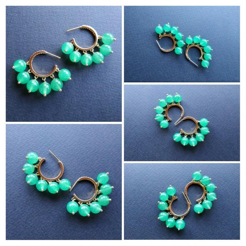 Сережки з колекції «Éblouissant» Арт. E23719Ébl Зелений Зелений агат, кристали Sw Богомолова Світлана - фото 7