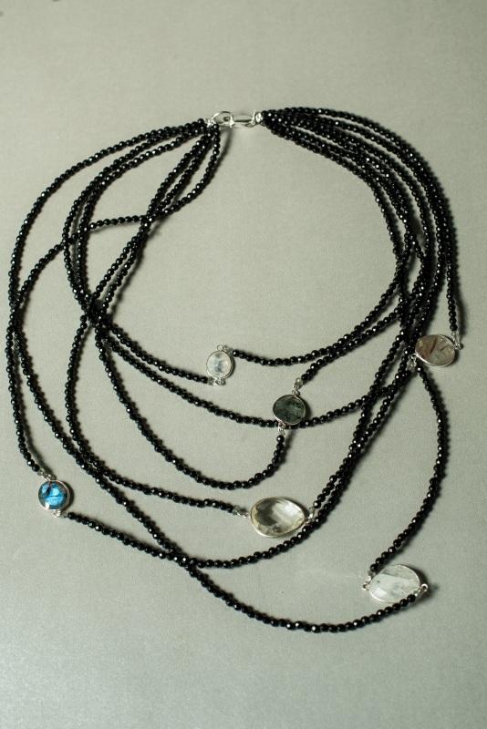 Ожерелье в стиле «Checker» из коллекции «Sky Cairo»  Арт. N002SC Черно-белый Черный Оникс, Агат, Амети Богомолова Светлана - фото 7