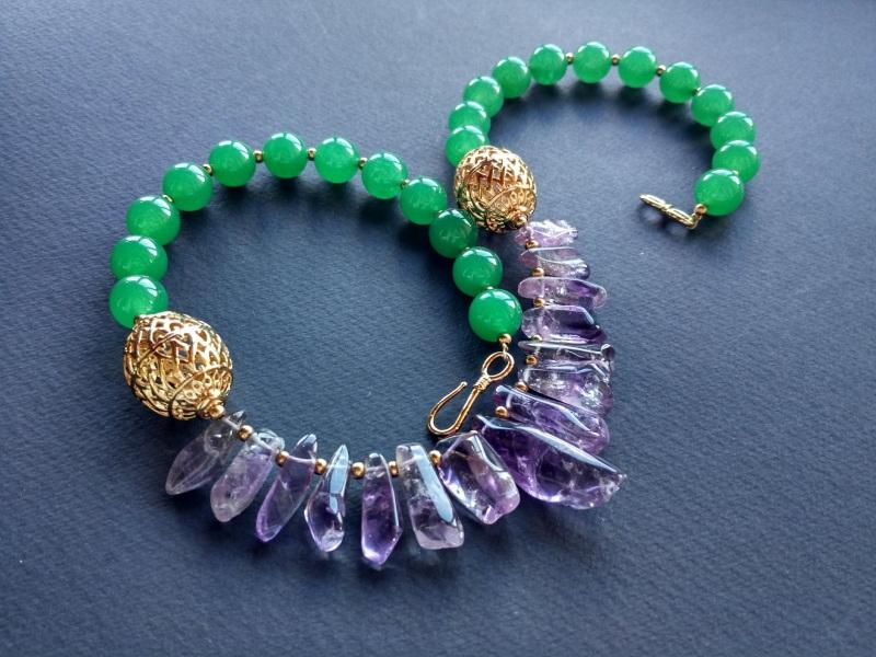 Ожерелье из коллекции «Hortense in the arms Artichoke»  Арт. N027HAA  Зеленый агат, аметист, ла Богомолова Светлана - фото 5