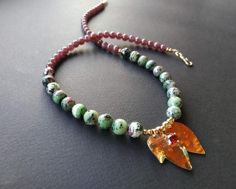 Ожерелье из коллекции «Forêt de féerie» Арт. N1819FDF Зеленый Аниолит (рубин в цоизите) Богомолова Светлана - фото 3