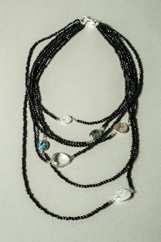 Ожерелье в стиле «Checker» из коллекции «Sky Cairo»  Арт. N002SC Черно-белый Черный Оникс, Агат, Амети Богомолова Светлана - фото 3