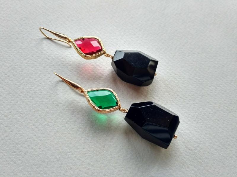 Серьги из коллекции «Orchidee Noir» Арт. E218ON Разноцветный Черный оникс, витражи, ла Богомолова Светлана - фото 2