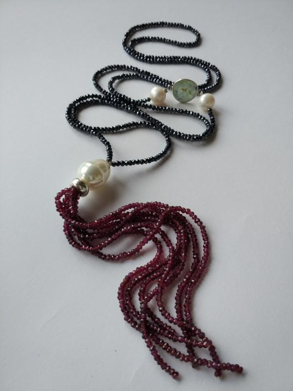 Ожерелье в стиле «Rope» из коллекции «Queen» Арт. N002Q  Шпинель серо-синяя, кварц Богомолова Светлана - фото 7