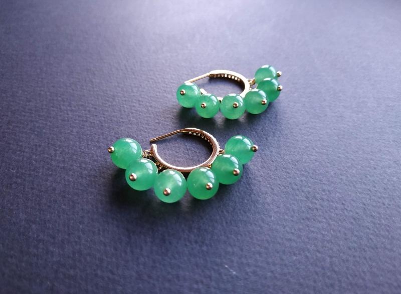 Сережки з колекції «Éblouissant» Арт. E23719Ébl Зелений Зелений агат, кристали Sw Богомолова Світлана - фото 3