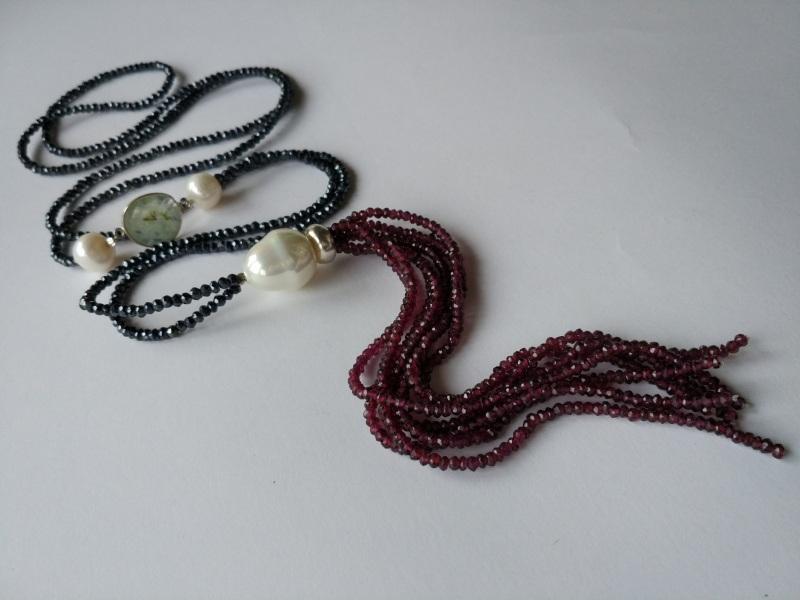 Ожерелье в стиле «Rope» из коллекции «Queen» Арт. N002Q  Шпинель серо-синяя, кварц Богомолова Светлана - фото 1