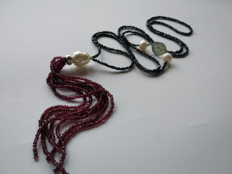 Ожерелье в стиле «Rope» из коллекции «Queen» Арт. N002Q  Шпинель серо-синяя, кварц Богомолова Светлана - фото 4