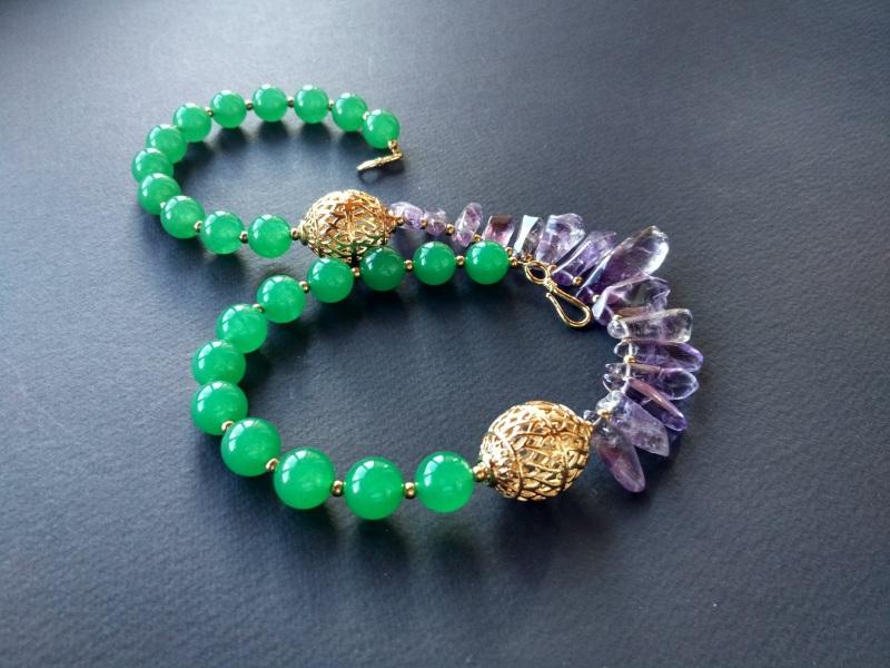 Ожерелье из коллекции «Hortense in the arms Artichoke»  Арт. N027HAA  Зеленый агат, аметист, ла Богомолова Светлана - фото 3