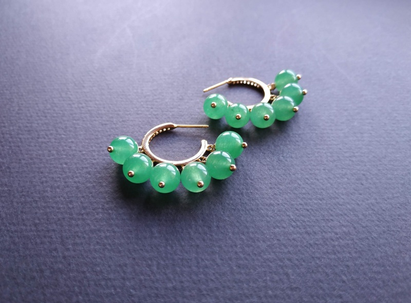 Сережки з колекції «Éblouissant» Арт. E23719Ébl Зелений Зелений агат, кристали Sw Богомолова Світлана - фото 9