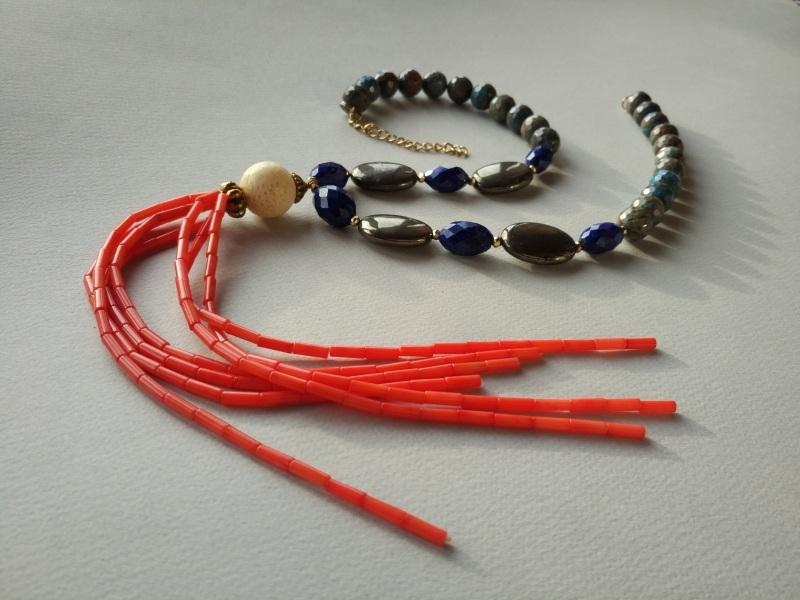 Ожерелье из коллекции «Caribbean fish» Арт. N011CF Разноцветный хризоколла, лазурит, кора Богомолова Светлана - фото 4