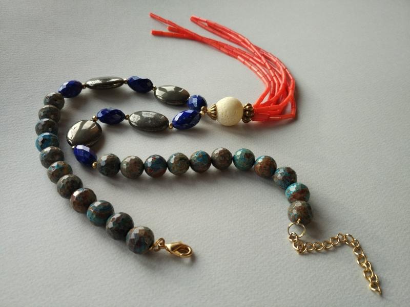 Ожерелье из коллекции «Caribbean fish» Арт. N011CF Разноцветный хризоколла, лазурит, кора Богомолова Светлана - фото 5
