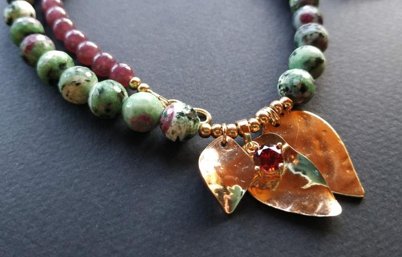 Ожерелье из коллекции «Forêt de féerie» Арт. N1819FDF Зеленый Аниолит (рубин в цоизите) Богомолова Светлана - фото 6