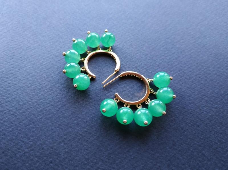 Сережки з колекції «Éblouissant» Арт. E23719Ébl Зелений Зелений агат, кристали Sw Богомолова Світлана - фото 10