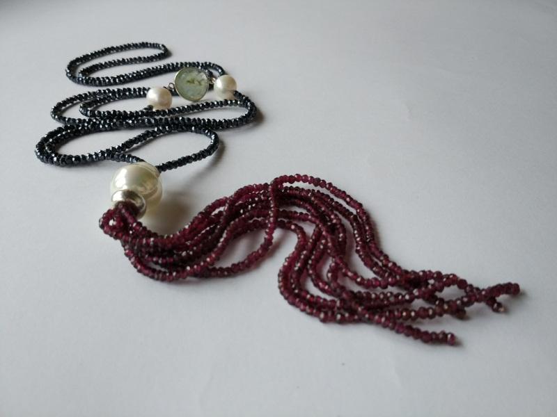 Ожерелье в стиле «Rope» из коллекции «Queen» Арт. N002Q  Шпинель серо-синяя, кварц Богомолова Светлана - фото 2