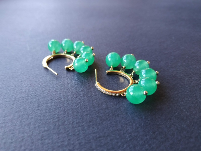 Сережки з колекції «Éblouissant» Арт. E23719Ébl Зелений Зелений агат, кристали Sw Богомолова Світлана - фото 8
