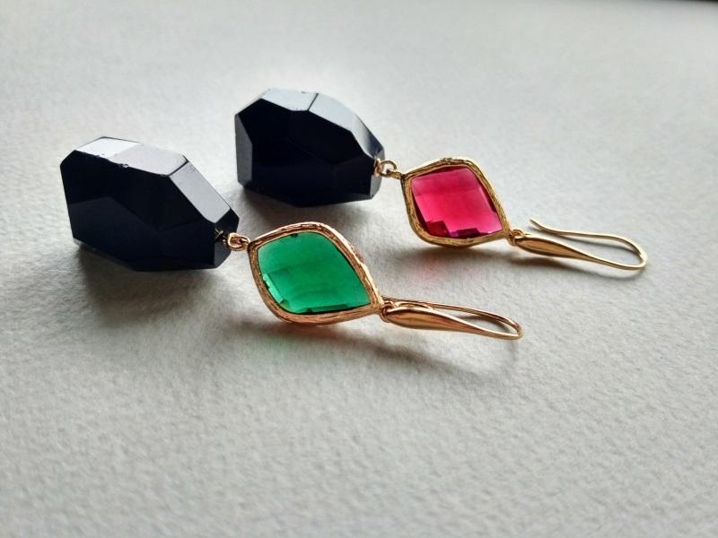 Серьги из коллекции «Orchidee Noir» Арт. E218ON Разноцветный Черный оникс, витражи, ла Богомолова Светлана - фото 1