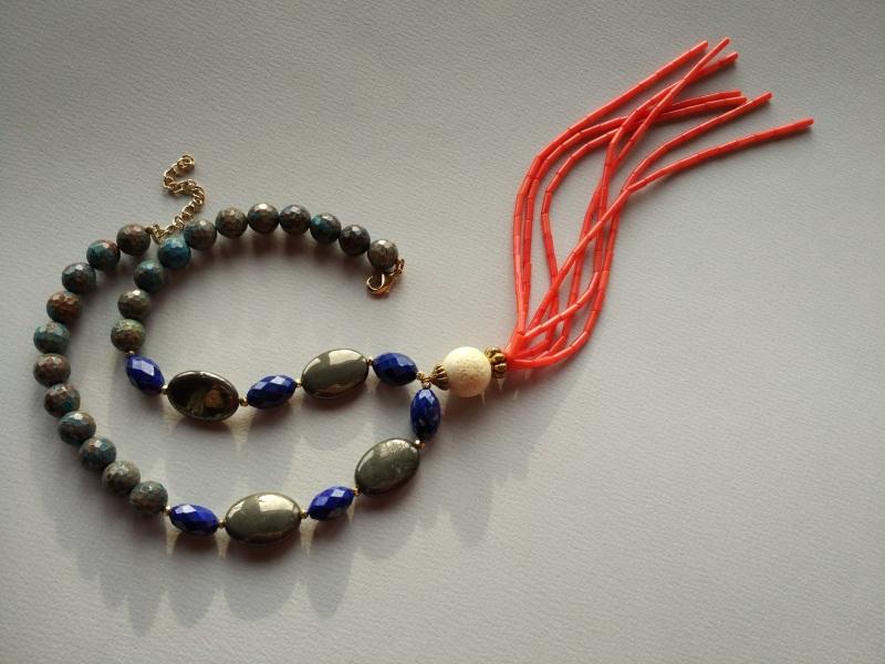 Ожерелье из коллекции «Caribbean fish» Арт. N011CF Разноцветный хризоколла, лазурит, кора Богомолова Светлана - фото 2