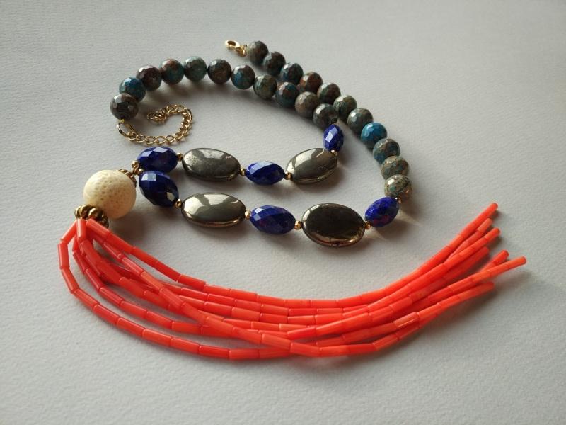 Ожерелье из коллекции «Caribbean fish» Арт. N011CF Разноцветный хризоколла, лазурит, кора Богомолова Светлана - фото 6