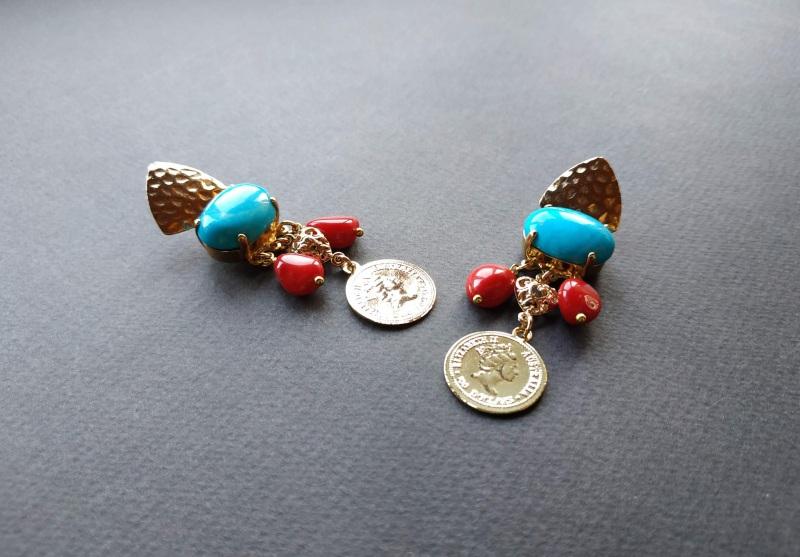 Серьги из коллекции «Tresors des profondeurs de l`ocean» Арт. E17719TPO Разноцветный Бирюза, коралл, латунь, п Богомолова Светлана - фото 8