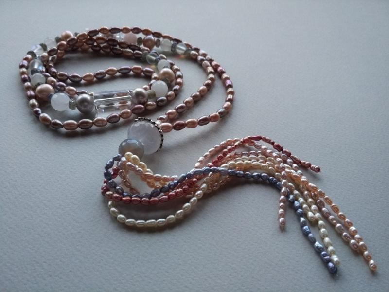 Ожерелье в стиле «Rope» Коллекция «Pearl fish»  Арт.N003PF-4 Разноцветный жемчуг речной, розовый кв Богомолова Светлана - фото 3