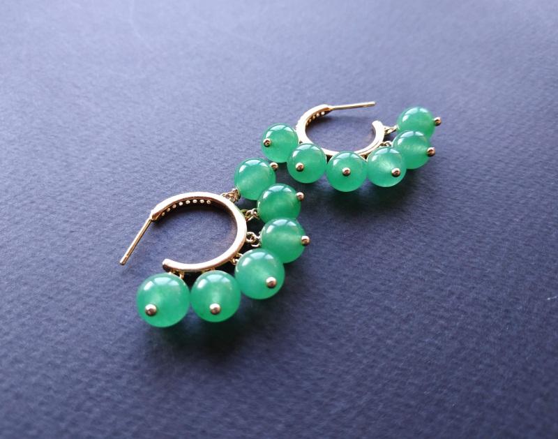 Сережки з колекції «Éblouissant» Арт. E23719Ébl Зелений Зелений агат, кристали Sw Богомолова Світлана - фото 2